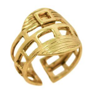 R67051.30 - Bague dorée épaisse et brossée
