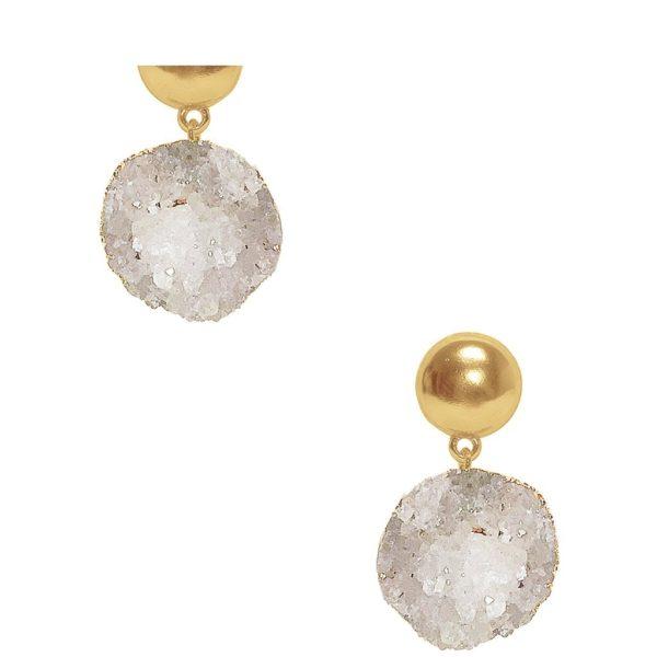 E80013.12 - Boucles d'oreilles doré ronde avec pierres nuturelles