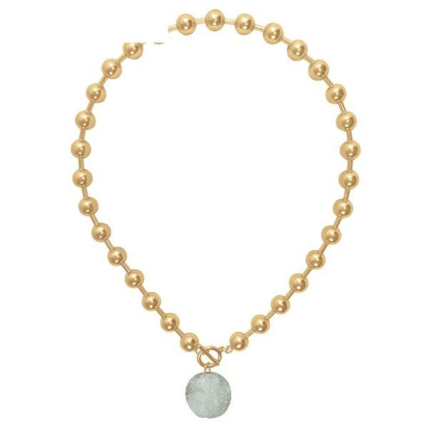 N80011.12 - Collier doré avec pierre naturelle