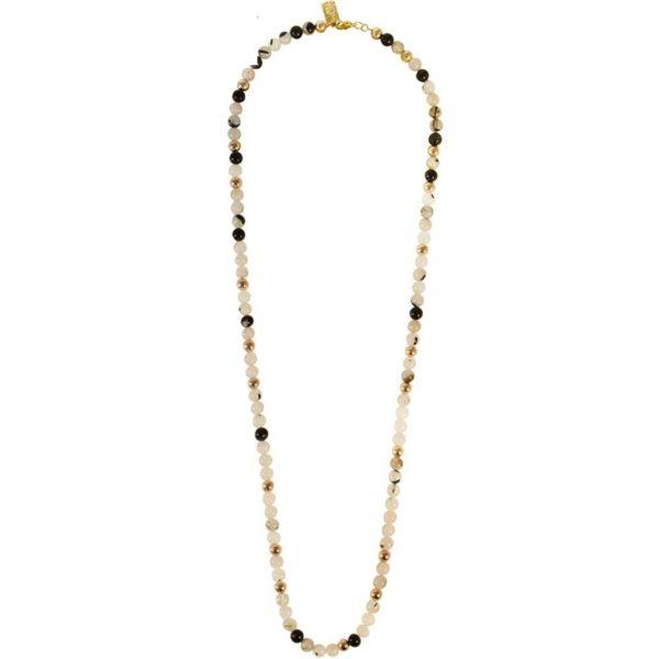 N80021.12 - Collier doré avec pierre naturelle