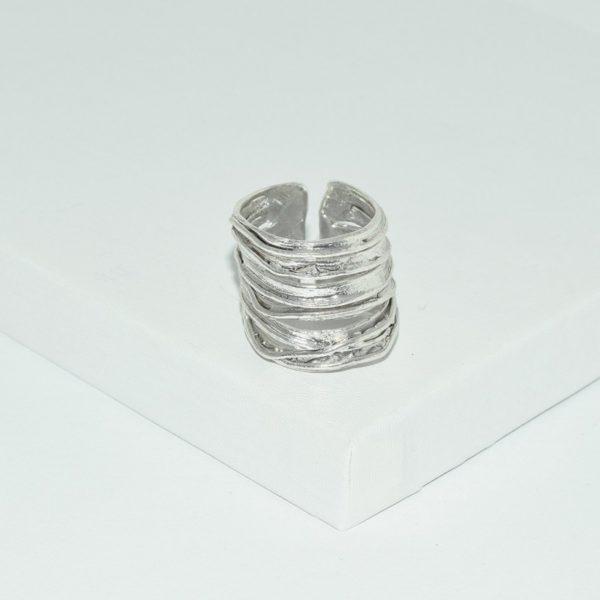 R66602.40 - Anneau argenté brossé