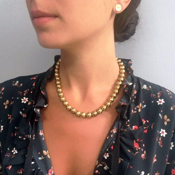 N80085.10 - Collier doré avec perles rondes