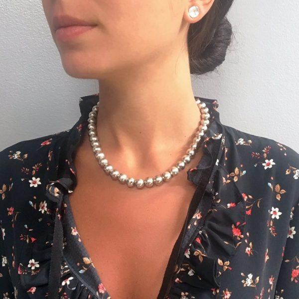 N80085.20 - Collier argenté avec perles rondes