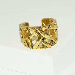 R80100.10 - Bague artistique dorée style manchette