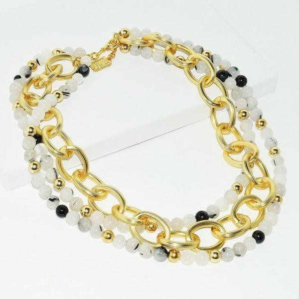 N68917.12 - Collier doré avec perles