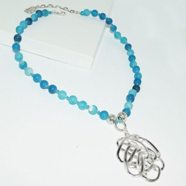 N68950.25 - Collier argenté avec perles turquoise