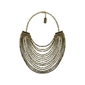 N50825.60 Collier étain couleur bronze avec plusieurs lignes de perle