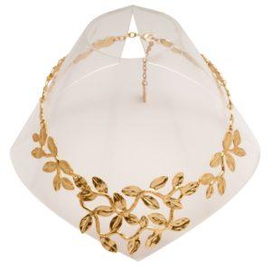 N56011.10 Collier doré à l'or fin 24 carats avec des feuilles sculptées