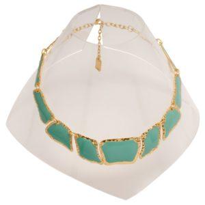 N59050.16 Collier doré à l'or fin 24 carats avec émail vert