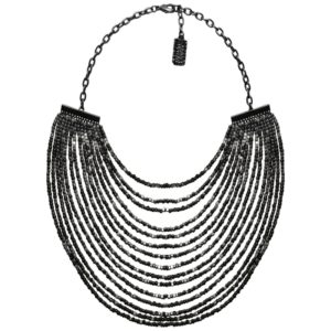 N50825.70 Collier étain couleur hématite avec plusieurs lignes de perle