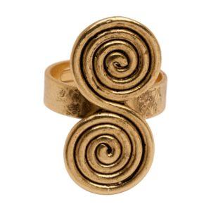 R54083.30 Bague dorée à l'or fin 24 carats avec tourbillon