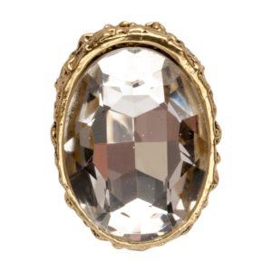 R51063.31 Bague dorée à l'or fin 24 carats avec un grand Cristal