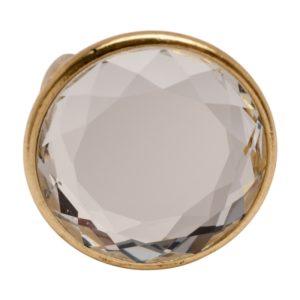 R50603.31 Bague dorée à l'or fin 24 carats avec grand cristal clair