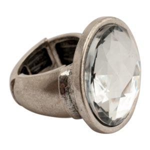 R50603.41 Bague argentée au 925 sterling avec grand cristal clair
