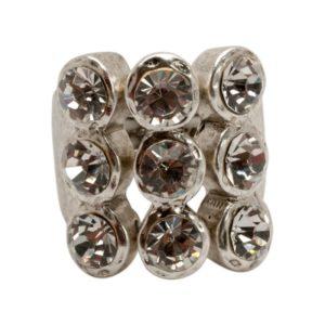 R50140.41 Bague argentée au 925 sterling avec trois rangée de cristaux rond