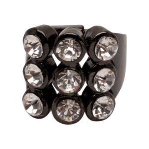 R50140.71 Bague étain couleur hématite avec trois rangée de cristaux rond
