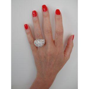 R50506.41 Bague argentée au 925 sterling avec dôme de cristaux