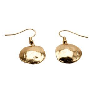 E06923.10 Boucles d'oreilles dorées à l'or fin 24 carats coquillage