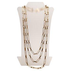 N50018.30 - Collier doré à l'or fin 24 carats oxydé avec 3 chaînes rectangulaire