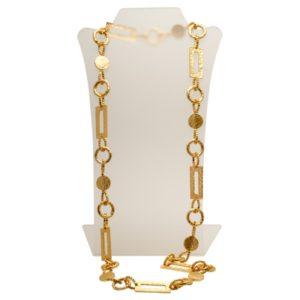 N50448.10 - Collier doré à l'or fin 24 carats avec une chaine sous forme de rectangle et de cercle