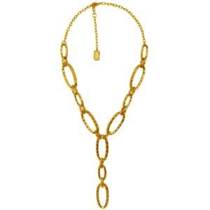 N58085.10 - Collier doré à l'or fin 24 carats avec des découpes ovales