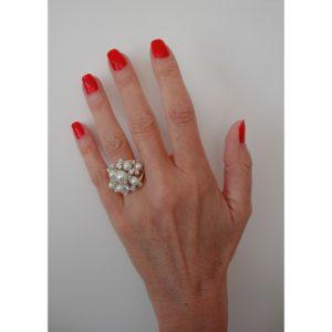 R51062.22 - Bague argentée au 925 sterling en forme de dôme avec perles