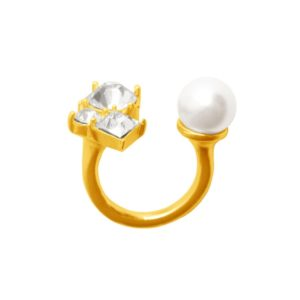 R62086.12 - Bague dorée à l'or fin 24 carats doté d'une perle blanche et des cristaux
