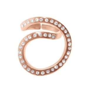 R62076.51 - Bague dorée à l'or rose fin 24 carats en tourbillon couvert de cristaux clairs