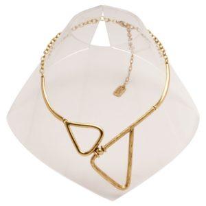 N59070.30 - Collier étain doré à l'or fin 24 carats avec deux triangles