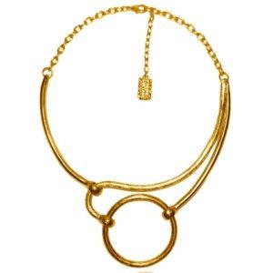 N58088.10 - Collier doré à l'or fin 24 carats de forme géometrique ondulé