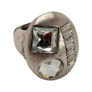 R50145.41 - Bague étain argenté au 925 Sterling avec des cristaux de forme différentes