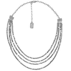 N58010.20 - Collier étain argenté 925 Sterling avec plusieurs chaînes
