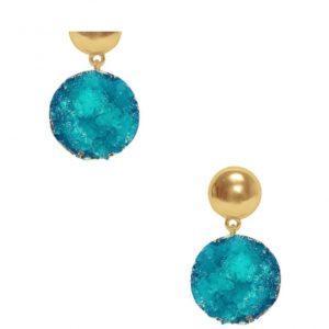 E80013.15 - Boucles d'oreilles doré ronde avec pierres nuturelles