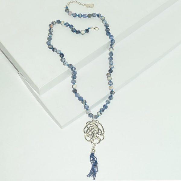 N80063.25 - Collier argenté avec pierre bleue